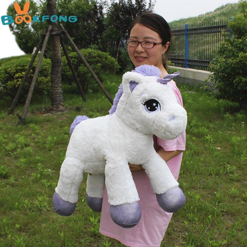 BOOKFONG 75 cm Unicorn Peluche Molle Farcito Pony Cartone Animato Unicorno Bambole Animale Cavallo Giocattolo di Alta Qualità Giocattoli per I Bambini ragazze