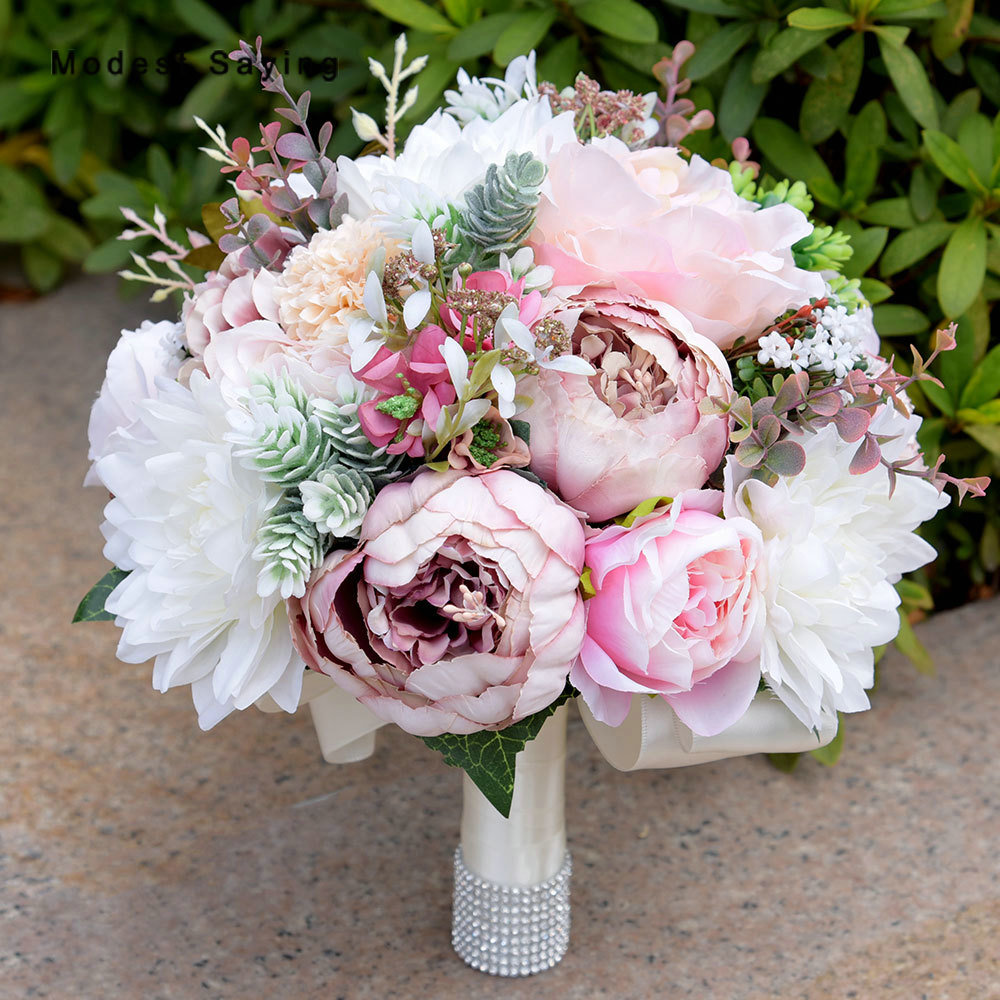 Fleurs artificielles élégantes Bouquets de mariage pivoine 2017 pour les mariées nouvelle mode perles de mariée poignée Bouquets accessoires de mariage