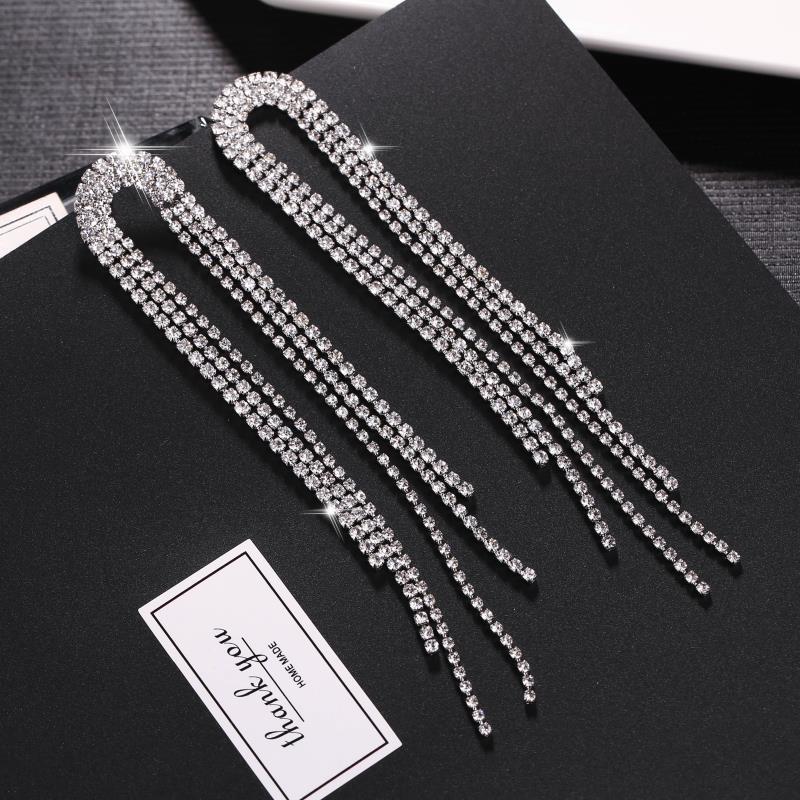 women dangle earrings korean fashion crystal earrings tassle long earrings drop earrings fashion jewelry in Drop Earrings from Jewelry Accessories