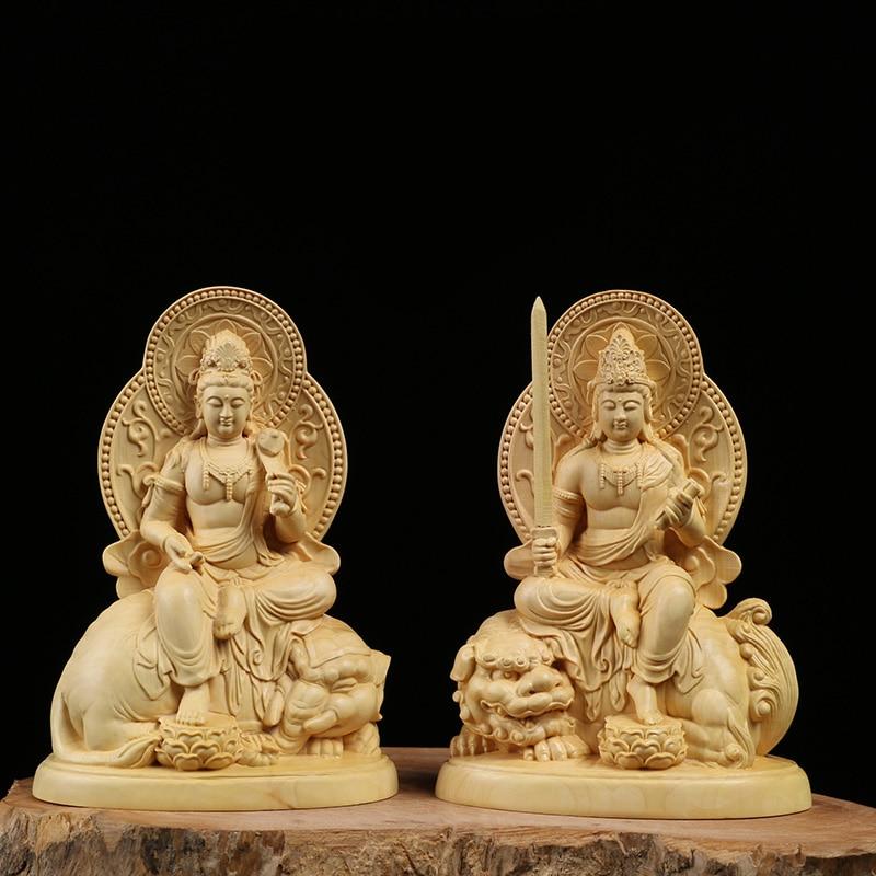 Wood carving buddha Craft Hand Carved Holy Guanyin Bodhisattva Tibetan Buddhism