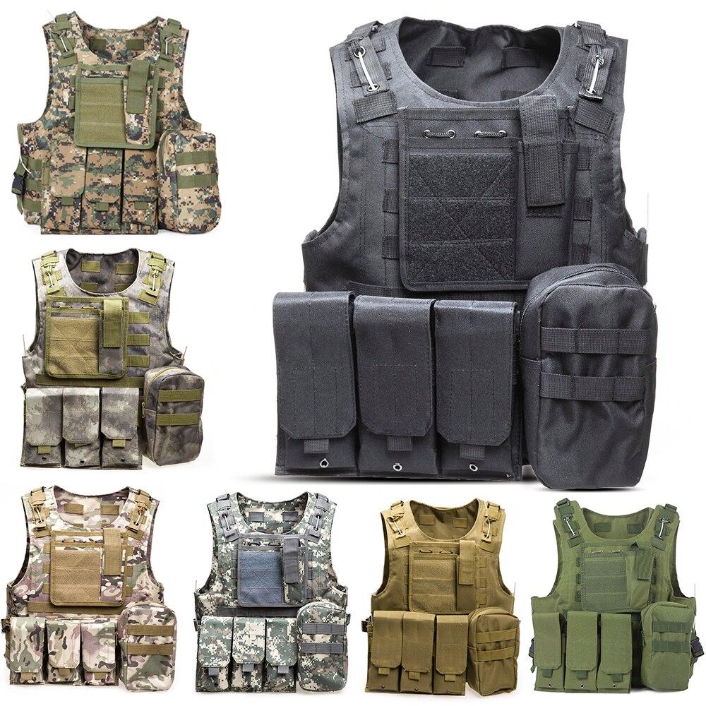 Tactical Vest 7 Colors Herrar Militär Jakt Vest Fält Slag Airsoft Molle Vapen Combat Assault Plate Carrier Jaktväst