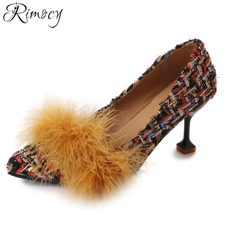 Rimocy brand design soft fur pumps women sexy pointed toe patchwork high heels shoes woman spring summer office working shoes sexy pointed toe high heels women pumps shoes new spring brand design ladies wedding shoes summer dress pumps size 35 42 302 1pa