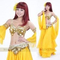 무료 배송 인도 옷 고급 쇼 댄스 스커트 밸리 댄스 의상 설정 밸리 3 갤러리 브라 & 벨트 & 스커트 34C 골드