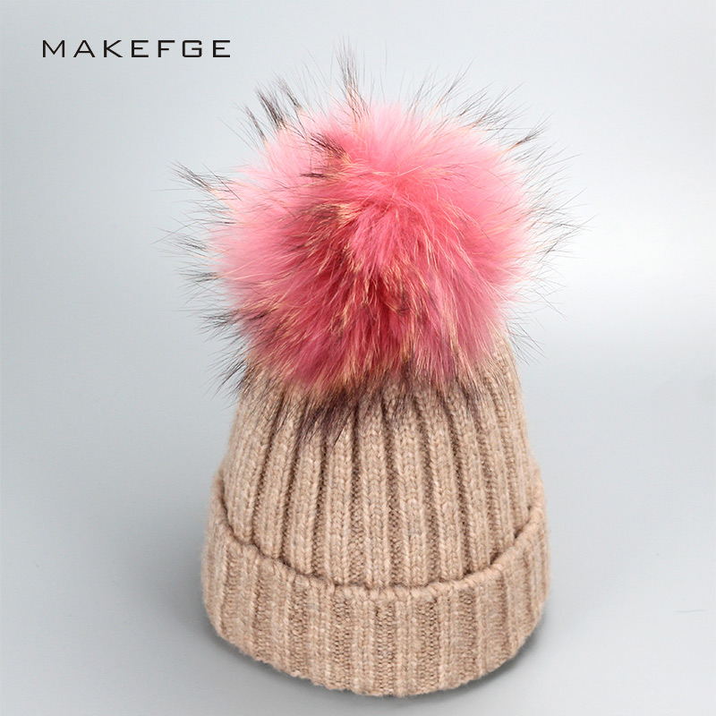 Pink Natural real fur raccoon fur pompon Winter women warm knit hat cap crochet skullies beanie with big ball solid thick cap children girl natural pompon knit hat cap winter warm crochet beanie with fur pom poms ball kids