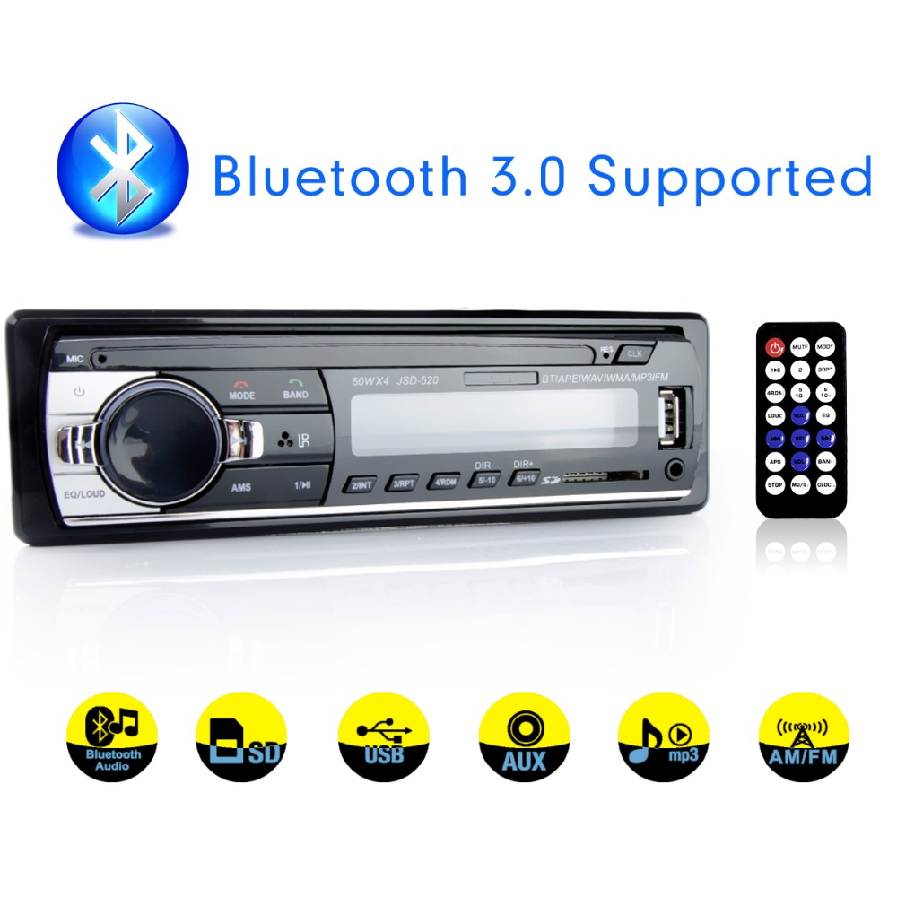 Viecar Car Radio Stereo Player Digital Bluetooth Car MP3 Player 60Wx4 FM Radio Stereo Audio Music USB/SD with In Dash AUX Input