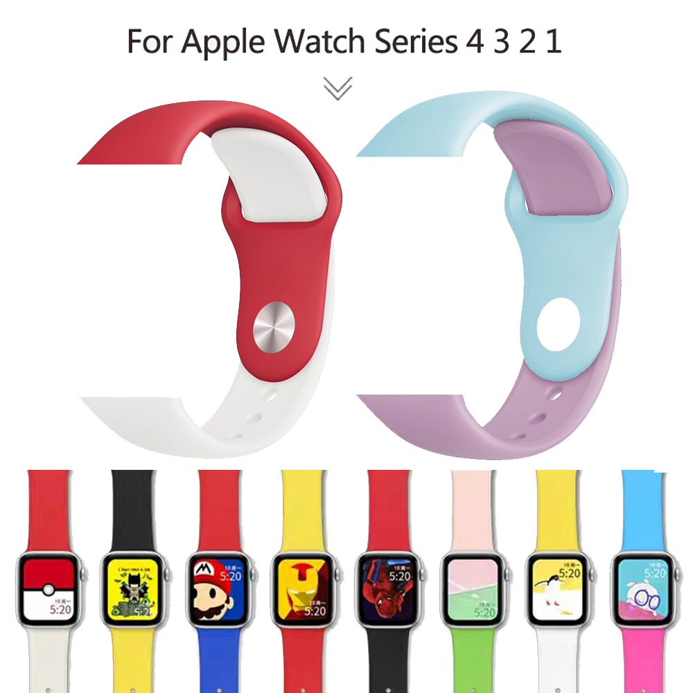 Soft Silicone Sports Band For Apple Watch 4 3 2 1 Bands 38MM 42MM Bands Rubber Watchband Strap For Iwatch Series 4 40mm 44mm