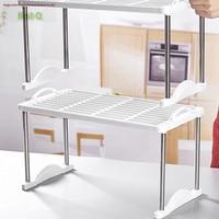Free shipping Stacking shelves desktop plastic kitchen storage shelf closet compartment finishing small storage rack