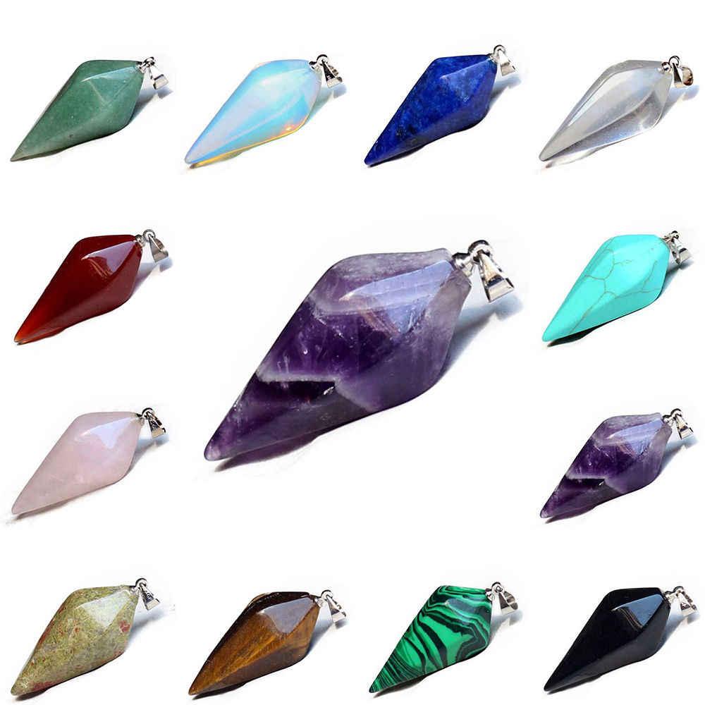 1PC ลูกตุ้มหินธรรมชาติคริสตัล Reiki Chakra Hexagonal Healing Stone Dowsing จี้สร้อยคอควอตซ์