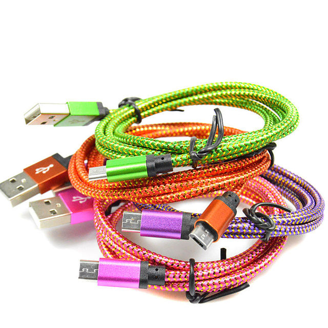 25cm/1M/2M/3M Micro USB Cable Charger Data Sync Nylon USB Cable For Android Smart Phone for tablet PC