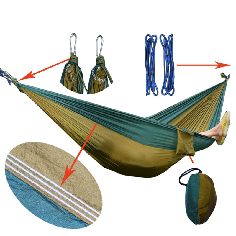 Portable Single Person Hammock Parachute Fabric hanging sleeping bed For outdoor hunting Camping backpacking hammock Swing hamacPortable Single Person Hammock Parachute Fabric hanging sleeping bed For outdoor hunting Camping backpacking hammock Swing hamac