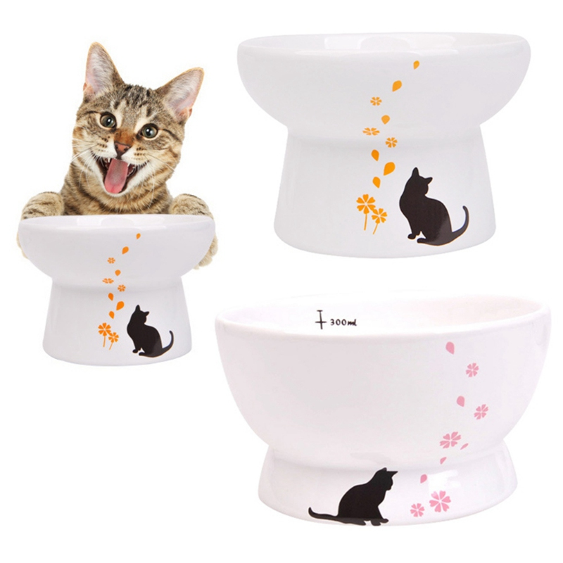 Pet Raised Ceramic Bowl Adult Cat Food Water Bowl Protecting Cervical Pet Feeder Bowl Indoor Cat Kitten Care Feeding Bowls