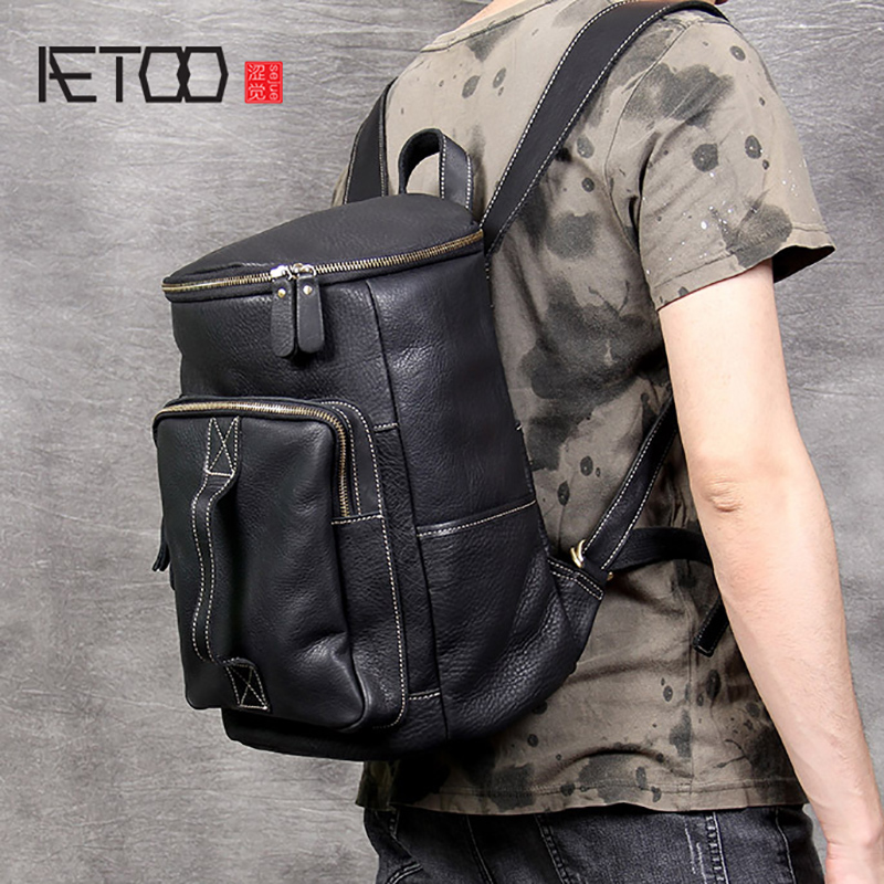 AETOO Simple retro leather shoulder baotou layer cowhide Backpack Male original large capacity bucket bag travel bagsAETOO Simple retro leather shoulder baotou layer cowhide Backpack Male original large capacity bucket bag travel bags