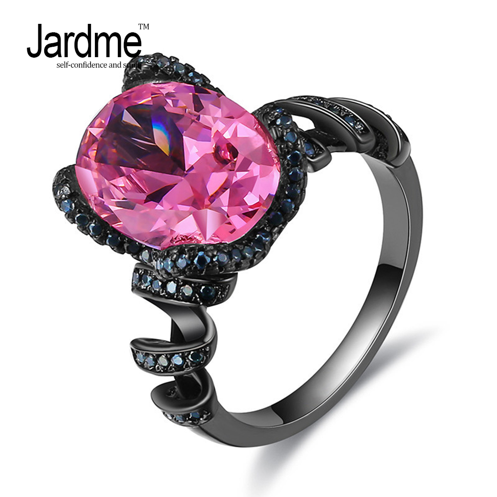 Jardme Big Pink CZ Crystal Black Gold Double Ring Finger Ring Anel Feminino Luxury Brand Jewelry For Lady Girls Best Gifts