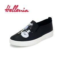 Купить с кэшбэком Hellenia 2018 children shoes Casual for girls Flats Size 36-40 slip on fashion shoes women sneakers comfortable black