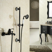 Oil Rubbed Bathroom Black Bronze Finished Shower Set Mixer Tap Wall Mounted Dual Handle Antique Solid Brass Bathtub Shower Kit