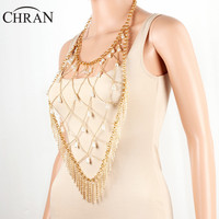 CHRAN Brand Sexy Women Vintage Jewelry Fashion Imitation Pearl Necklace Bijous Charm Gold Plated Mesh Tassels