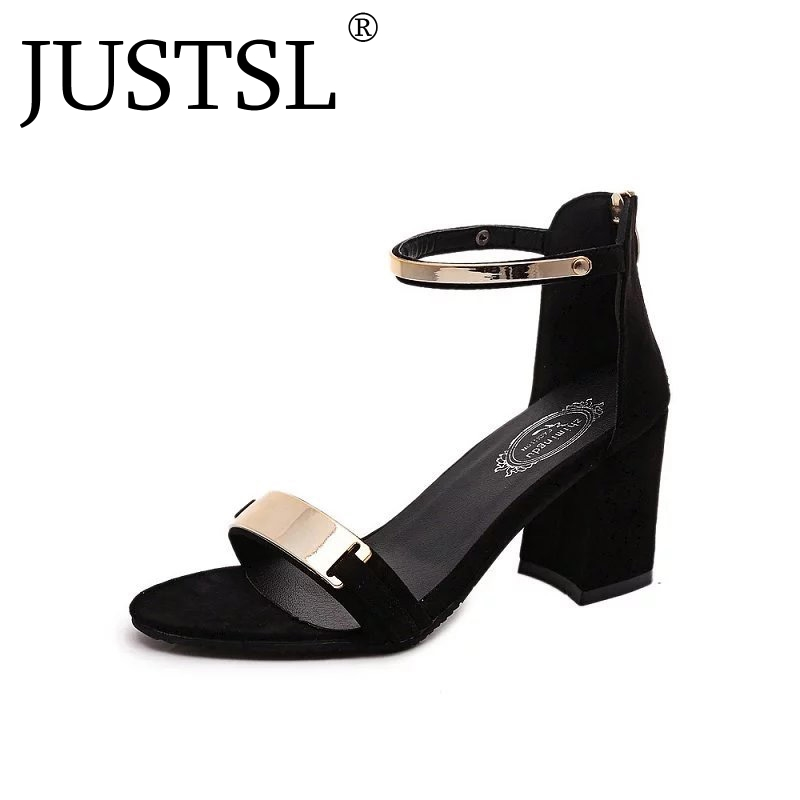 JUSTSL <font><b>2018</b></font> Summer Fashion Thick with Sequin <font><b>Sexy</b></font> <font><b>Sandals</b></font> Wild Open Toe buckle High-heeled Women <font><b>Sandals</b></font> ladies Casual Shoes image