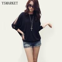 High Quality Patchwork Black T Shirt Women Mesh Top 2017 Summer Solid Tshirt Casual Long Sleeve
