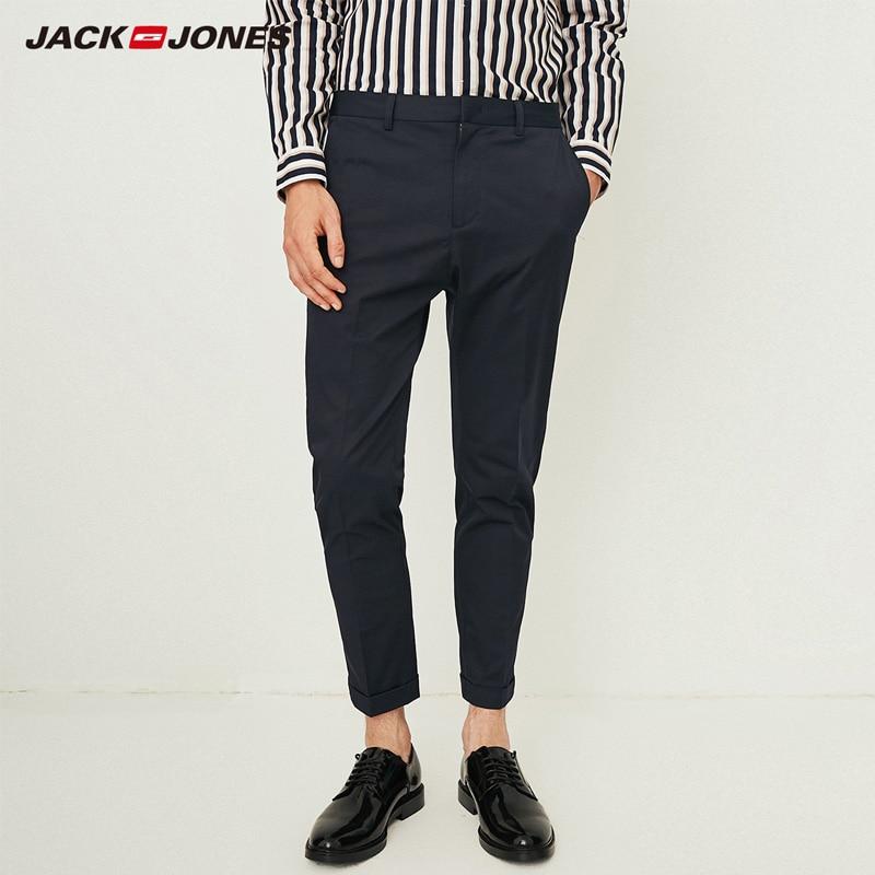 Jack Jones Men Cotton Casual Pants Leisure Business Nine-minute Pants Men Office Trousers   218314513