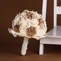 Handmade Top Quality Wedding Bouquet Bridesmaids Flowers Artificial Silk Rose Brown Ivory Blue Yellow Color Bridal