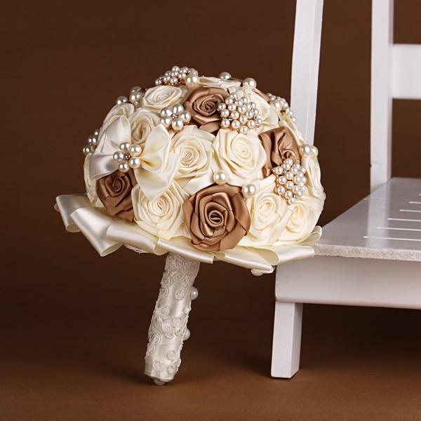 Haut fait main qualité mariage Bouquet demoiselles d'honneur fleurs soie artificielle Rose marron ivoire bleu jaune couleur accessoires de mariée