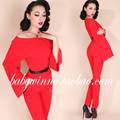 2015 Autumn New Free Shipping Red Long Rompers Womens Jumpsuit Elegant Overalls Designed Sleeve Polyester Nice Jumpsuits Overall