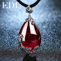 Fashion Brand Vintage 925 Silver Red Royal Bohemian Garnet Natural Semi Precious Stones Pendant Necklace Female