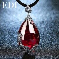 EDI Retro Kraliyet Garnet Gemstone 100% 925 Ayar Gümüş Doğal Kalsedon Kolye Kolye Kadın Güzel Takı