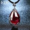 Fashion Brand Vintage 925 Silver Red Royal Bohemian Garnet Natural Semi Precious Stones Pendant Necklace Female