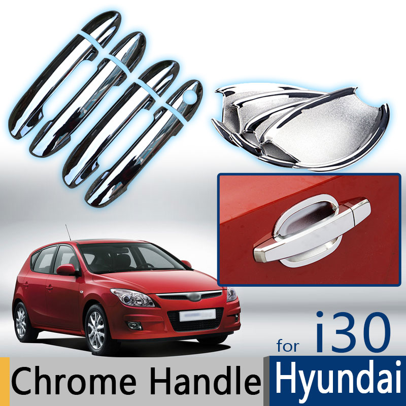 Hot Sela For Hyundai i30 Accessories Chrome Trim Exterior Door Handle Covers 2007 2008 2009 2010 2011 Car Styling Car Stickers car auto accessories rear trunk trim tail door trim for subaru xv 2009 2010 2011 2012 2013 2014 abs chrome 1pc per set