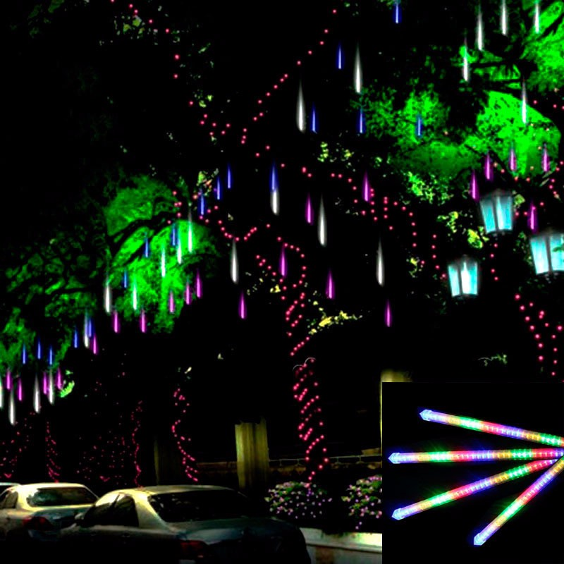 8pcs/set 30CM Meteor Shower Multi-color Rain Tubes AC100-240V LED Christmas Lights Wedding Party Garden Xmas String Light