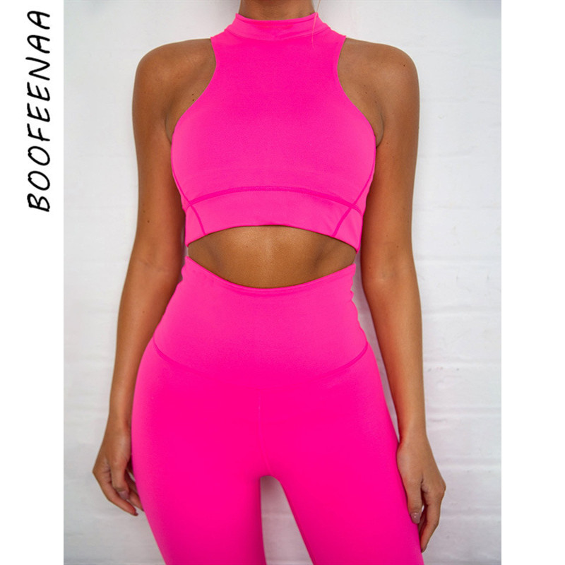 BOOFEENAA Two Piece Set Neon Yellow Pink Crop Top Pant Suits For Women Tracksuit Sexy Casual Outfits Sports Wear Gym C87-AG04