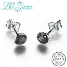 L& zuan, серьги-гвоздики из стерлингового серебра 925 пробы для женщин, разноцветные сережки с мистическим топазом, Женские Ювелирные изделия, маленький подарок на Рождество