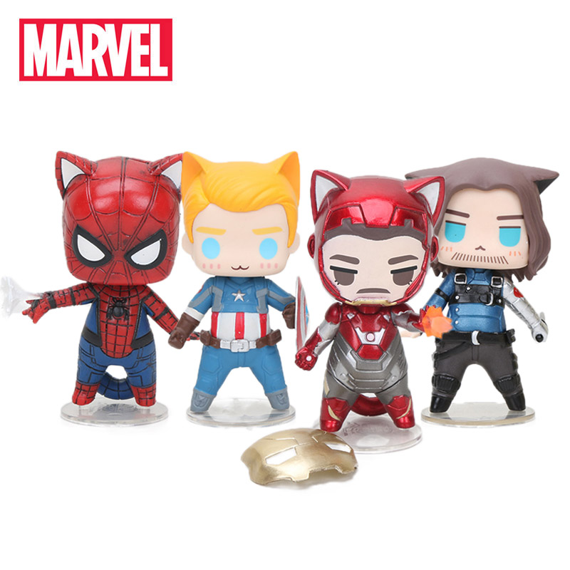 4pcs/set 8-10cm Marvel Toys The Avengers Figures Q Version Superhero Captain America Winter Soldier Spiderman Collectible Model(China)