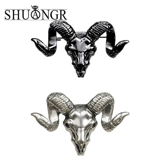 SHUANGR New Brand Design Men Brooch Popular Alloy Sheepshead Brooches Collar Pin