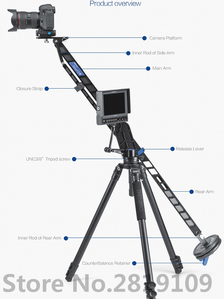 Benro MoveUp4 Travel Video Jib crane Professional Auminium Portable Pro DSLR Video Camera Crane Jib Arm Max Load To 4kg A04J18 цена и фото