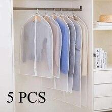 5pcs/set Clothing Covers Clear Suit Bag Moth Proof Garment  Zipper Dust Storage Bags Moisture Protection Cover D30