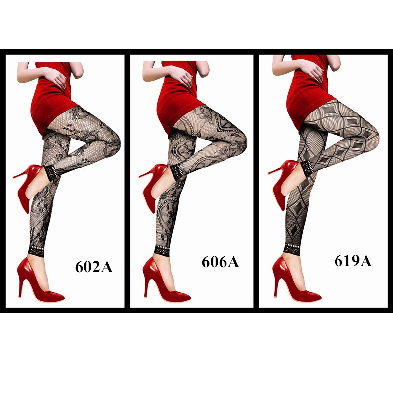 Hot Summer Fashion Women Sexy Black Fishnet Pattern Jacquard Leg Stockings Pantyhose Tights For Lady 3 Style cropped pants