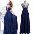 Vestidos de Noche elegantes para Las Mujeres Embarazadas V Neck Opacidad Royal Blue Gasa Vestidos de Fiesta 2016 vestido com perolas