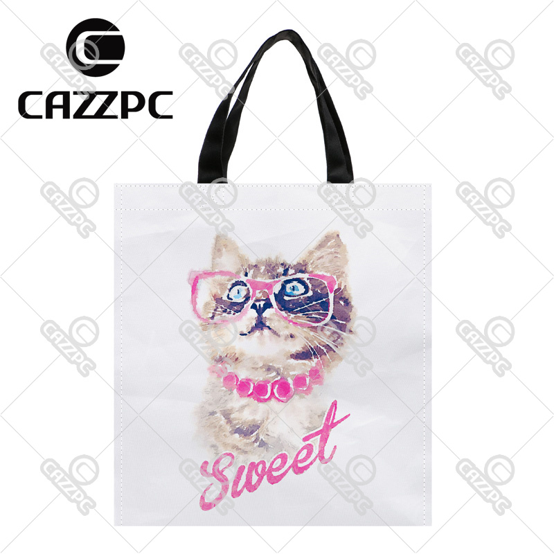 Hipster Watercolor Art Sweet Cute Cat Pattern Print Custom Oxford Nylon Fabric Shopping Storage Grocery bag Pack of 2