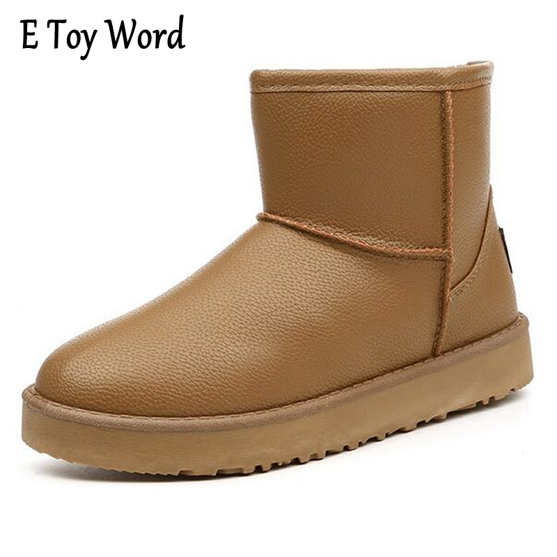 E TOY WORD Winter Leather Snow Boots Warm thickening Women Shoes Waterproof Non-Slip Plus Cashmere Boots Ankle boots for Women martin winter boots for men and men s winter snow boots warm cashmere waist leather shoes in winter thickening