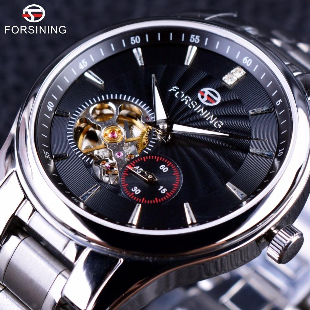 Forsining Classic Series Sapphire Mirror Tourbillion Designer 316L Steel Mens Male Wrist Watch Top Brand Luxury Automatic Watch