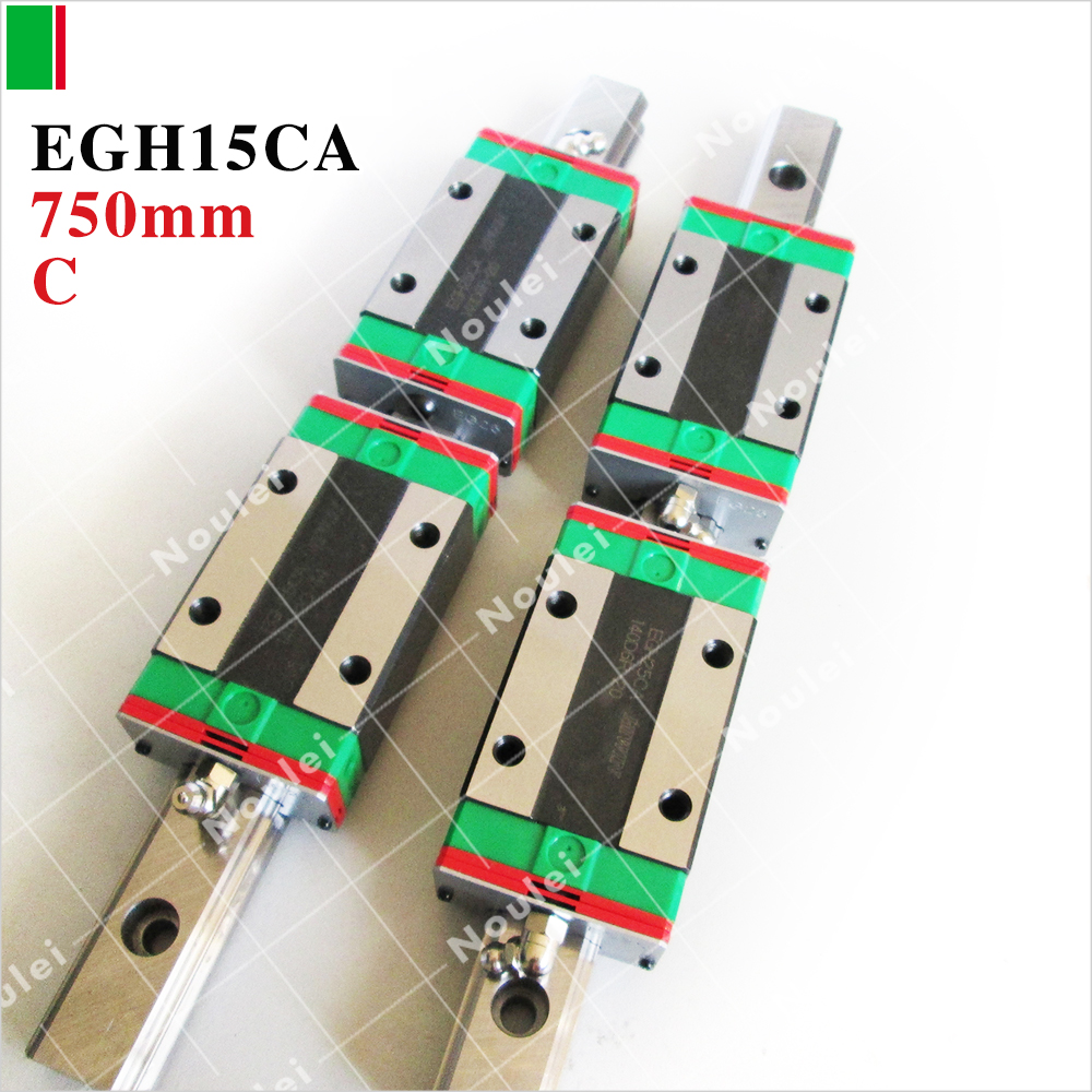 HIWIN Linear rail,2pcs EGR15 750mm  linear guide rail+4pcs EGH15CA CNC Linear Guide Rail Block free shipping to argentina 2 pcs hgr25 3000mm and hgw25c 4pcs hiwin from taiwan linear guide rail