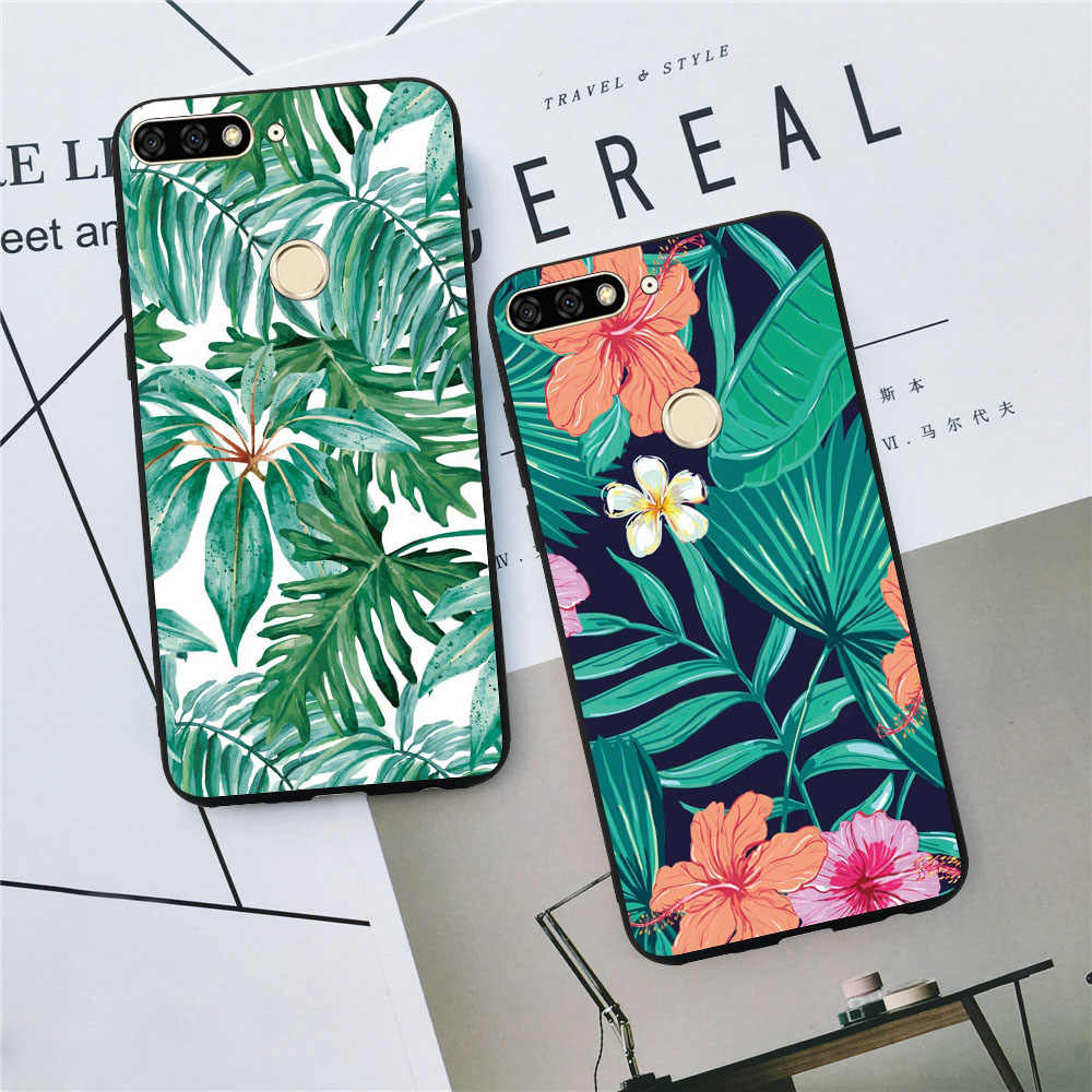 For Huawei Mate 20 10 Lite 9 Lite 10 Pro Enjoy 7 8 Plus 7S 6S Cases Luxury Flamingo Flowers Leaves Pineapple Marble Covers Coque