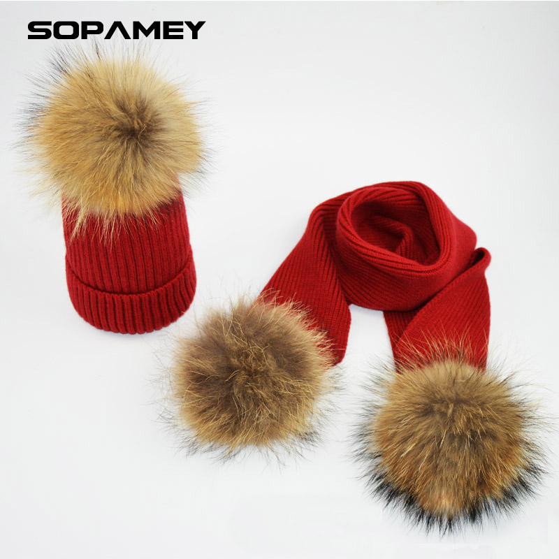 High Quality Winter Hats for Woman Man Raccoon Fur Hat Scarf Set Girls and Boys Pom Poms Knitted Beanies Hat Cap Brand Scarves new star spring cotton baby hat for 6 months 2 years with fluffy raccoon fox fur pom poms touca kids caps for boys and girls