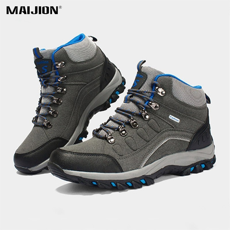 MAIJION Men Hiking Shoes Waterproof Keep Warm Sneakers Women Outdoor Sneakers Shoes Non-slip Unisex Durable Sport Trekking Shoes mulinsen brand new winter men sports hiking shoes cowhide inside keep warm sport shoes wear non slip outdoor sneaker 270606