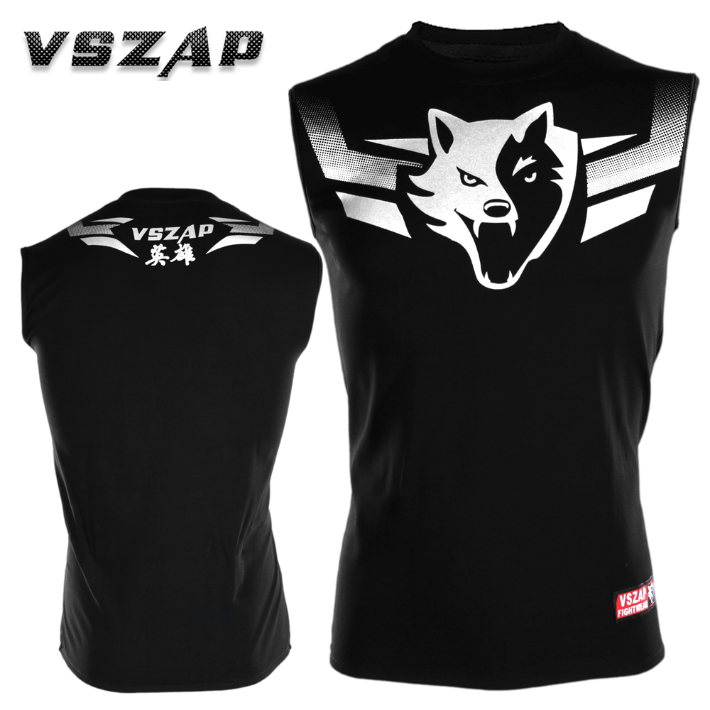 VSZAP Hero Sleeveless T-shirt Men Sports Aerobics Running Boxing Clothing Boxing Gym T Shirt Mma Muay Thai MMA Suits Tee Shirt