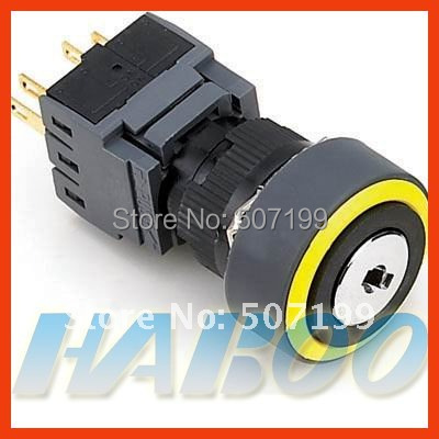 10pcs/lot HABOO factory directly dia.16mm with various color ring 2position key lock switch 3NO+3NC