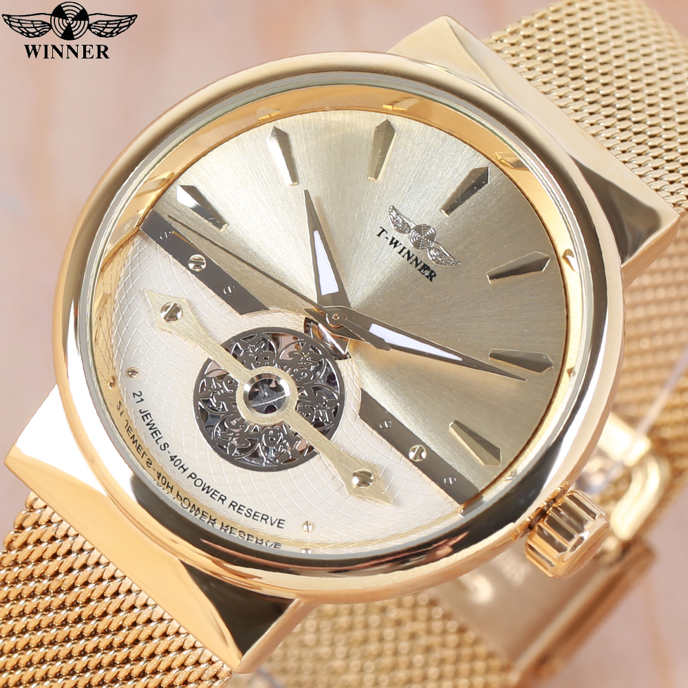 2018 NEW WINNER Ultra Thin Men Watch Automatic Mechanical Golden Mesh Strap Fortune Skeleton Dial Wristwatch Relogio Masculino winner luxury ultra thin golden men auto mechanical watch mesh strap bird pattern skeleton dial top fashion style wristwatch