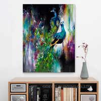Altas Habilidades Artista Artesanal de Alta Qualidade Abstrato Animal Pintura A Óleo sobre Tela Abstrato Pintura A Óleo do Pavão para Sala de estar